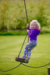 playing in the playpark at Logie Steading