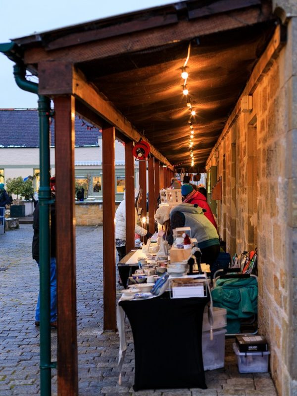 Stalls at Logie Steading Christmas Market