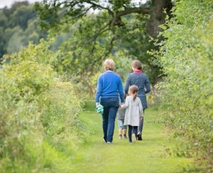 a family walk at Logie Steading