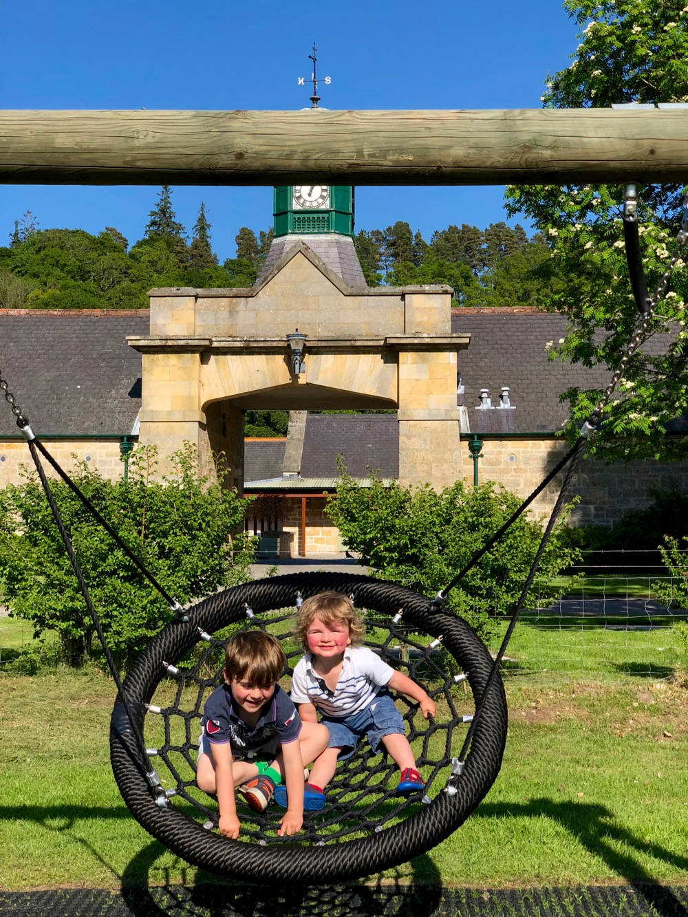 on the swing in the playpark at Logie Steading