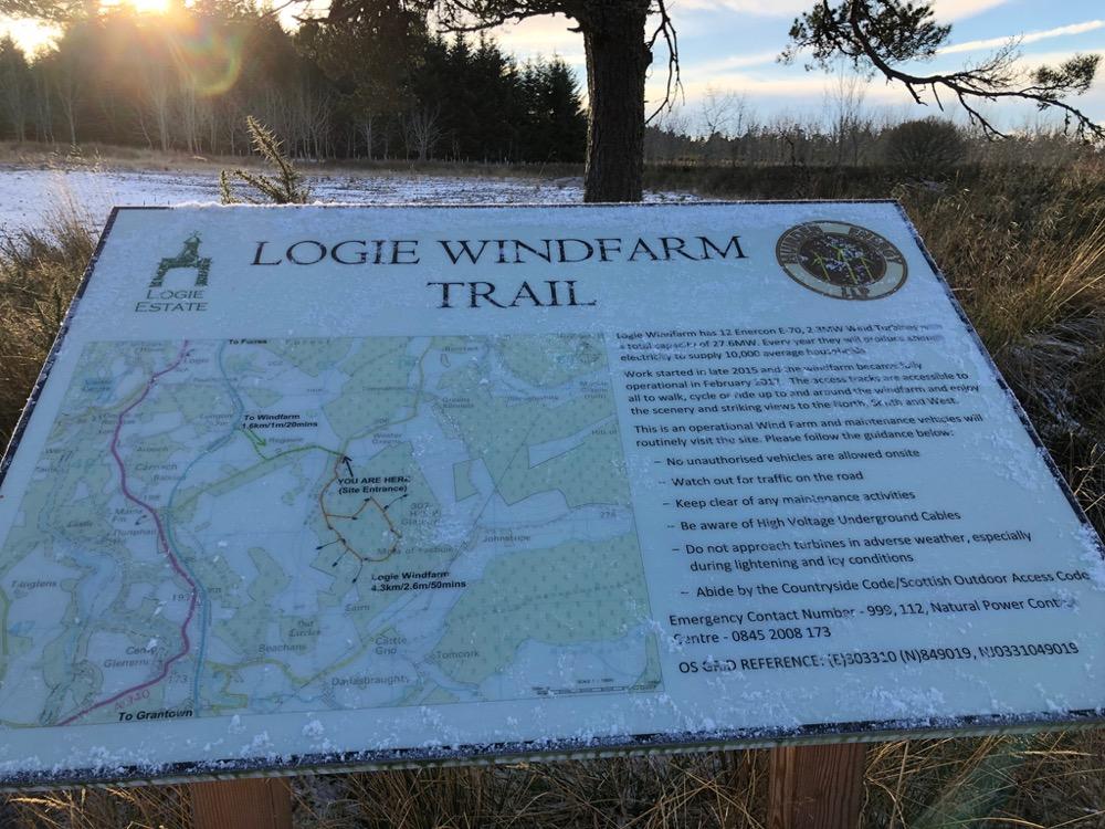 Logie Windfarm walk sign map