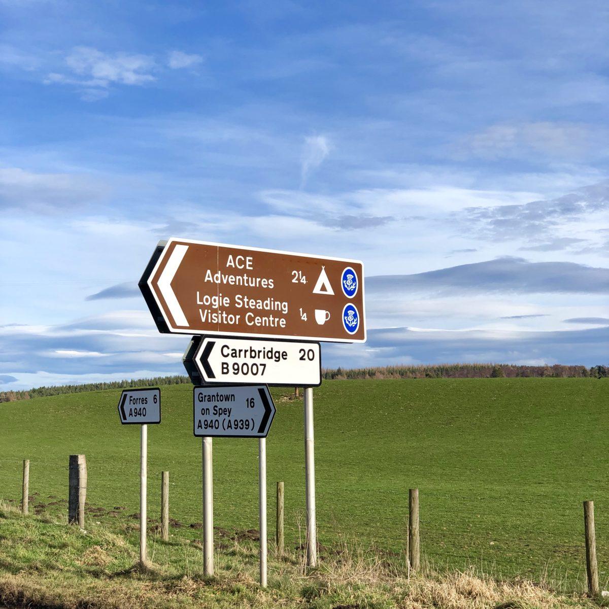 Logie Steading brown sign
