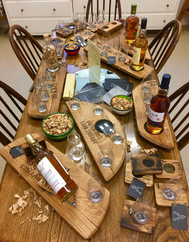 table of goodies at Logie Whisky