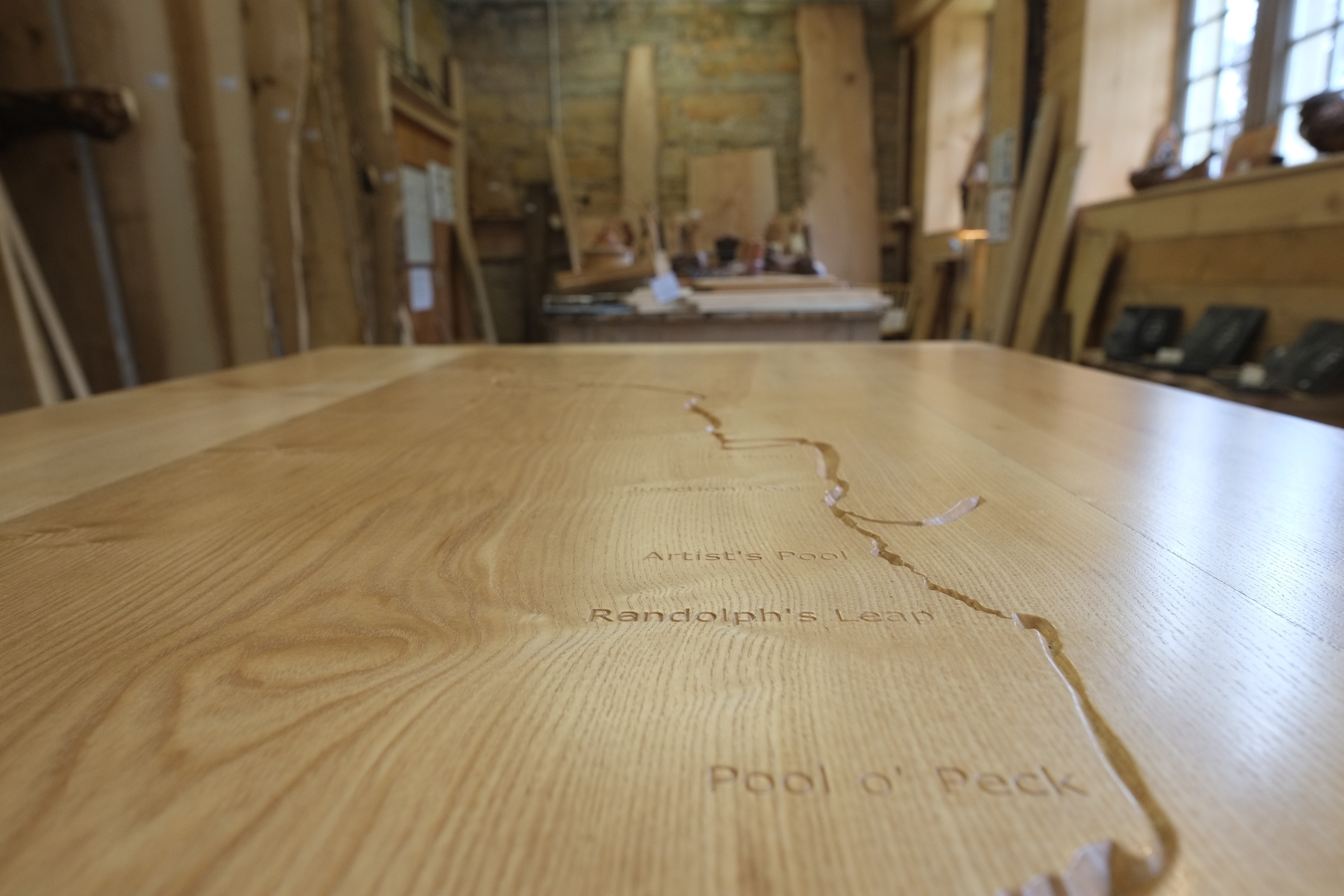 River Table in the Boardroom closeup