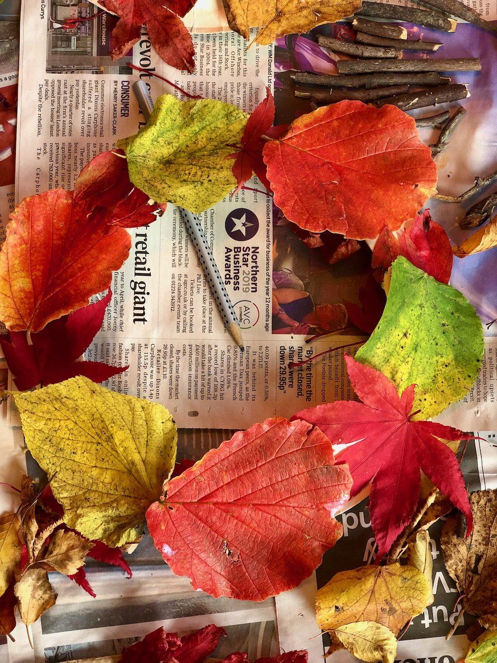 autumn craft leaf wreath
