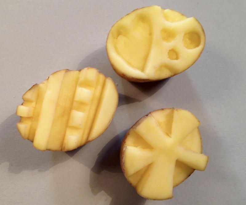 potatoes cut for printing