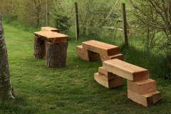 Wooden benches popped up around the event