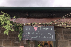 The Finderene Development Trust stand - asking people about their experiences of the area and explaining more about what they do