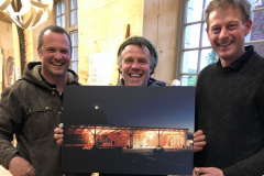 Mark and Alec of Logie Timber presenting a picture of the building he created to Henry Fosbrooke. Photo taken by Ross Howie who works the mill!