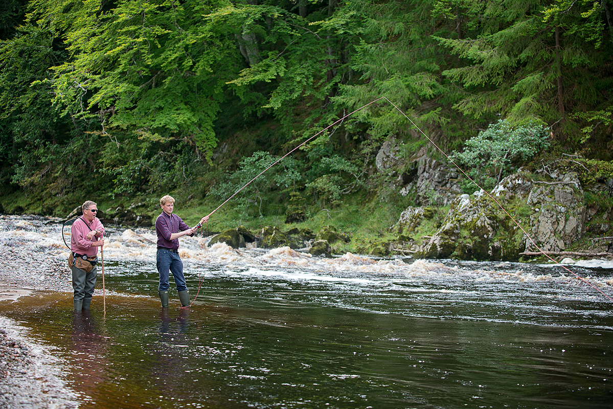Father and Son fishing at Logie on the River Findhorn