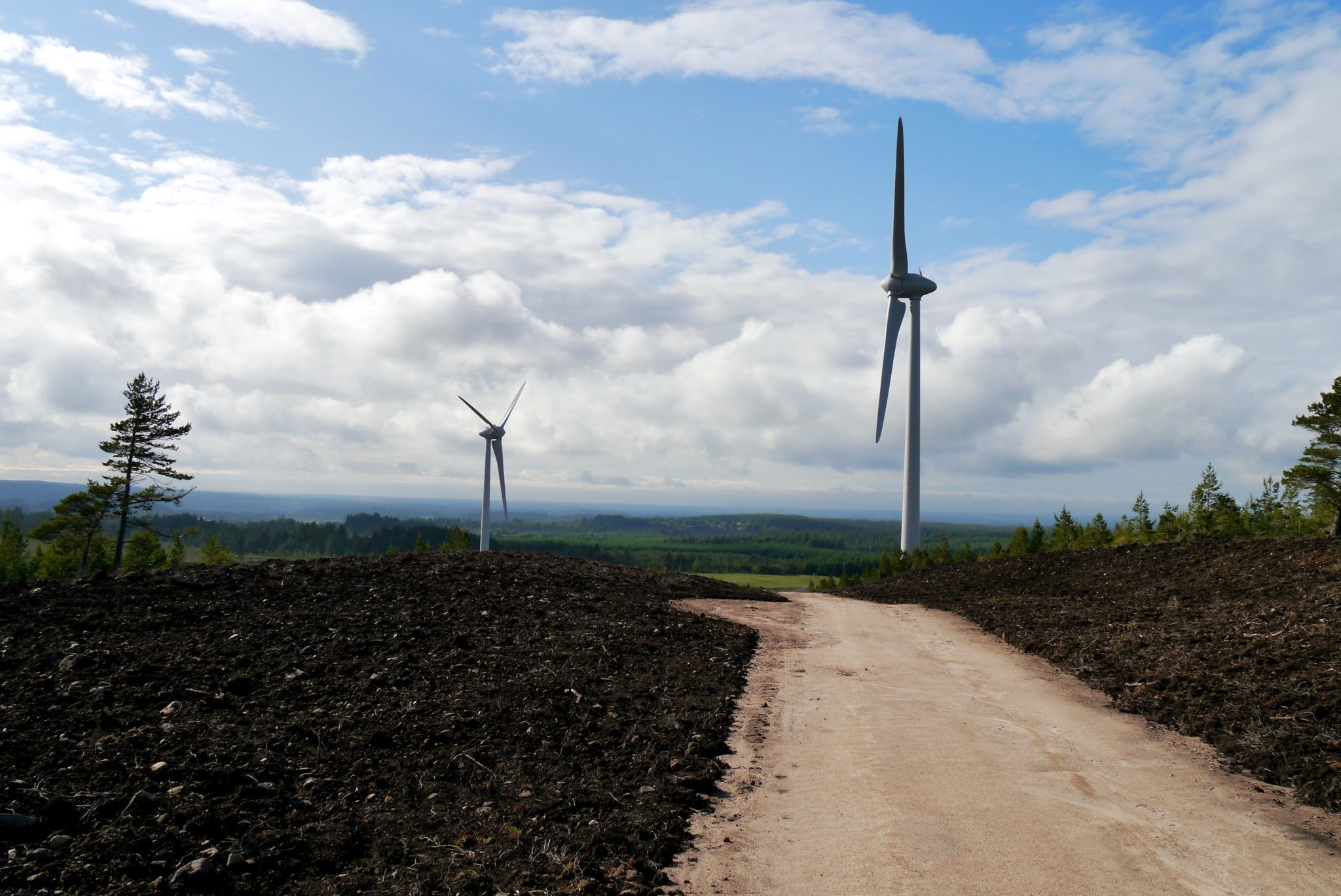 Logie Windfarm at Hill of Glaschyle, under construction