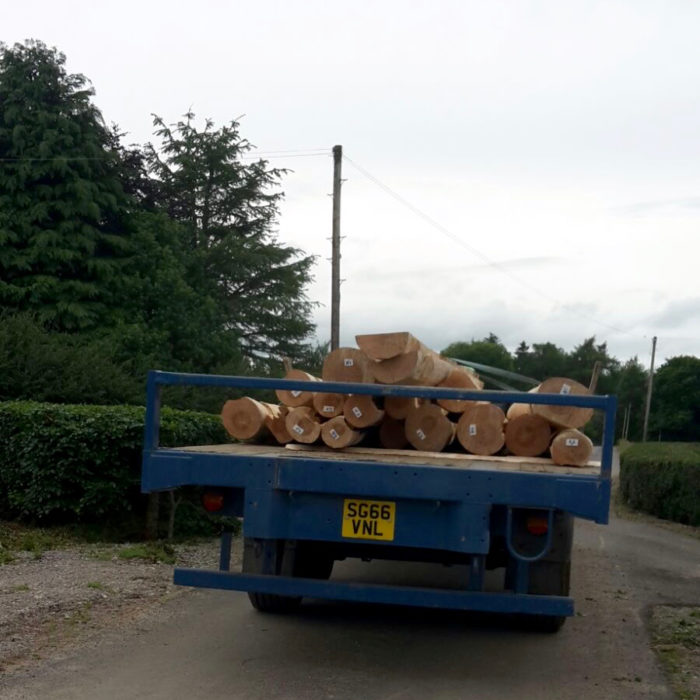 Logs being transported to position for Canadian log cabin fishing hut