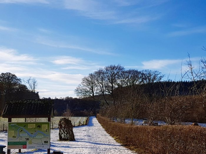 a sunny snowy walk at Logie Steading