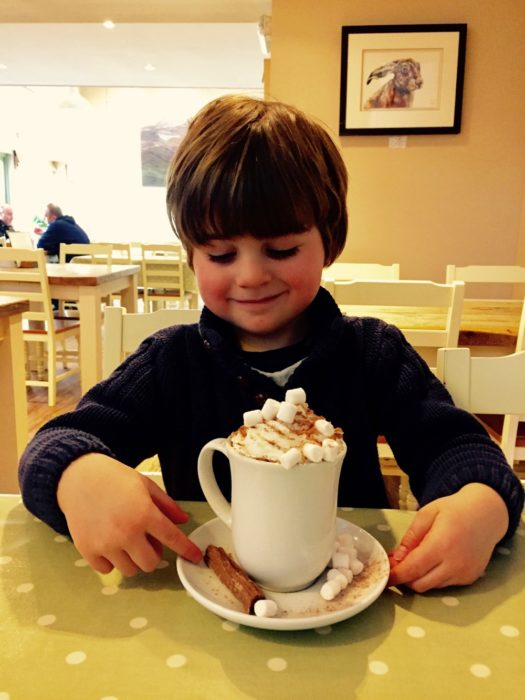 deluxe children's hot chocolate at the Olive Tree Cafe at Logie Steading