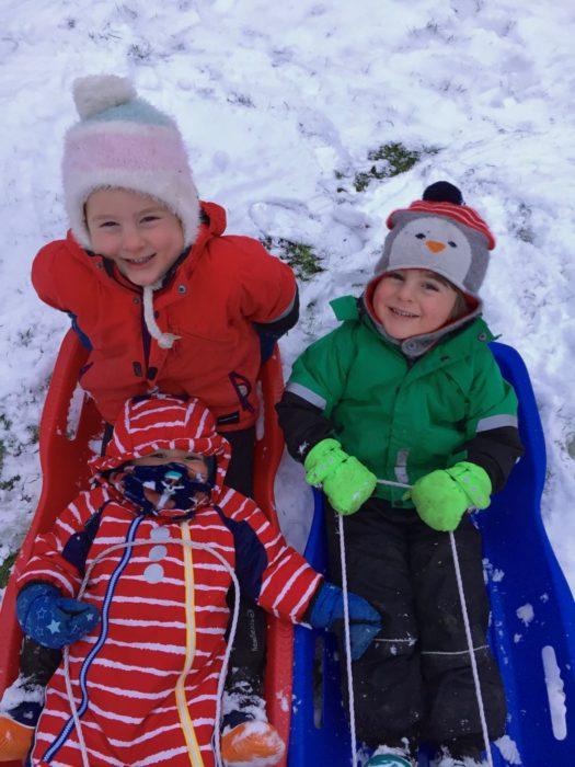 Juno, Max & Gus - children sledging