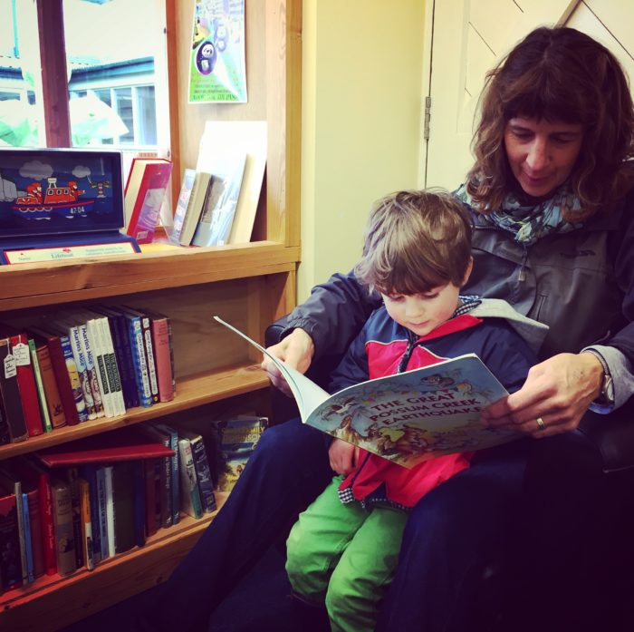 reading with Grandma in Children's Corner at Logie Steading Bookshop