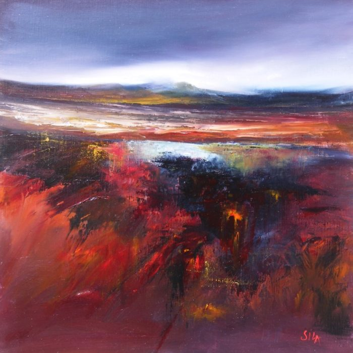Mist over Ben Griam by Sila Collins-Walden. Exhibition in the Long Room Logie Steading in Ma