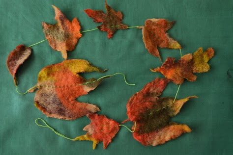 hellygog autumn leaf felt craft course at Logie Steading with Fibre Alchemy