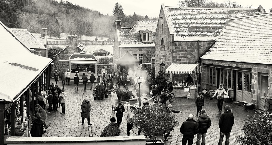 Logie Steading Christmas Market black and white