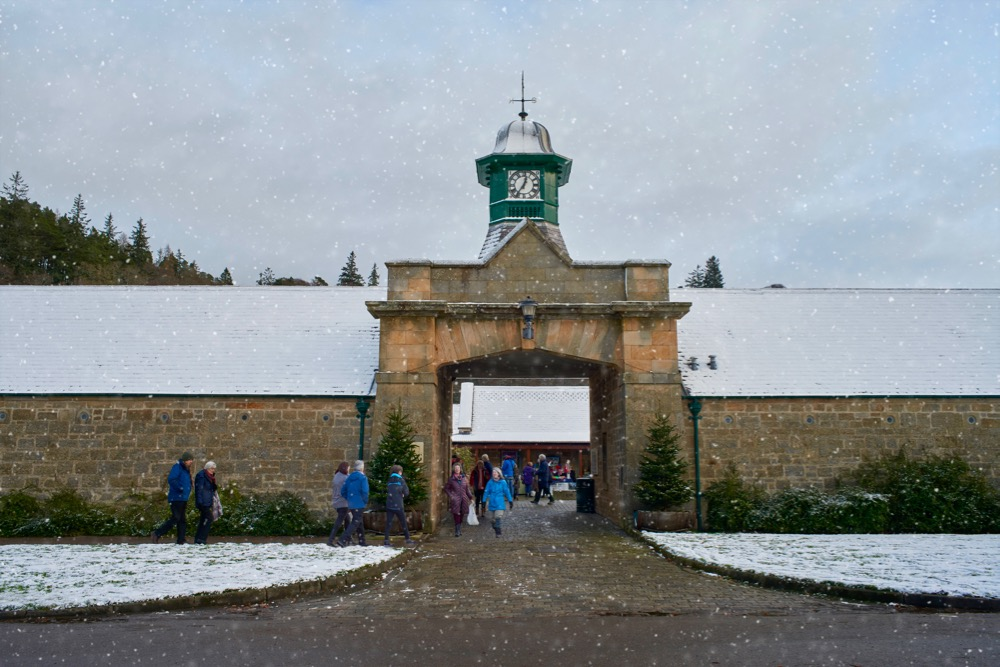 entering Logie Steading Christmas Market