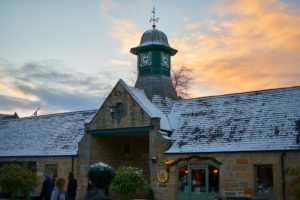 sun setting on Logie Steading Christmas Market