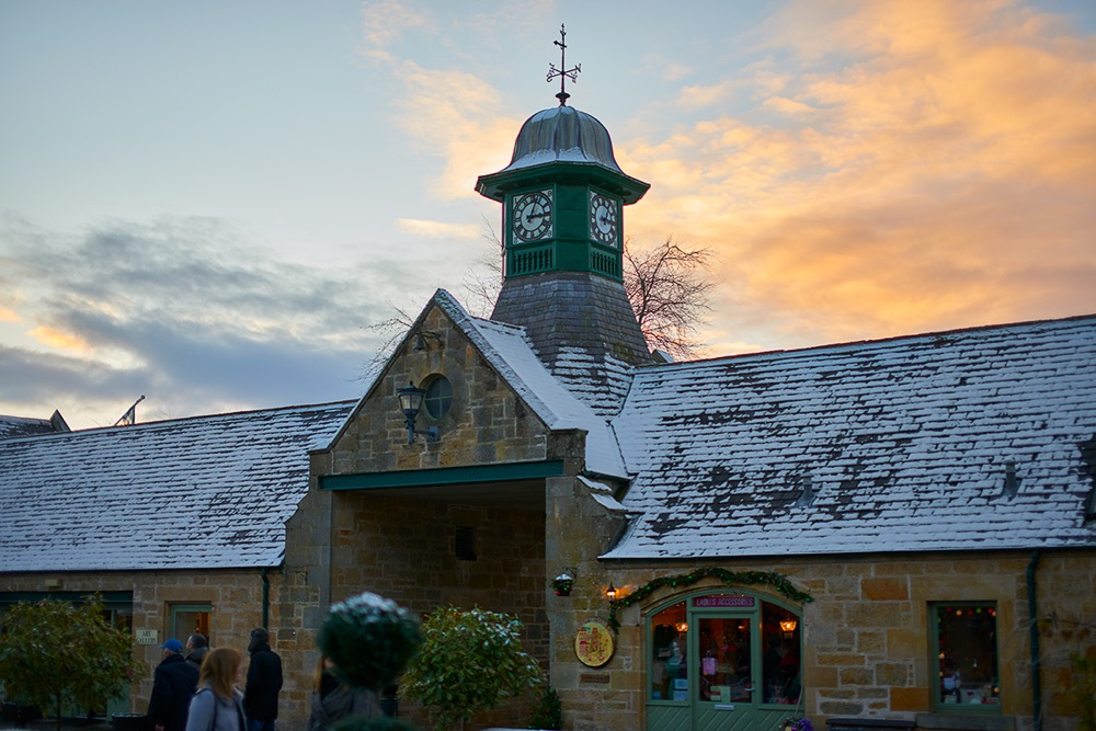 sun setting on Logie Steading Christmas Market