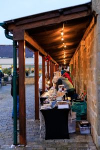 Stalls setting up at Logie Steading Christmas Market