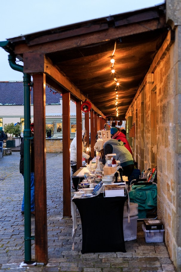 Stalls setting up at Logie Steading Christmas Market