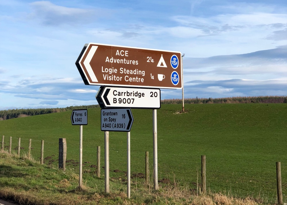look out for the brown sign to Logie Steading on the A940