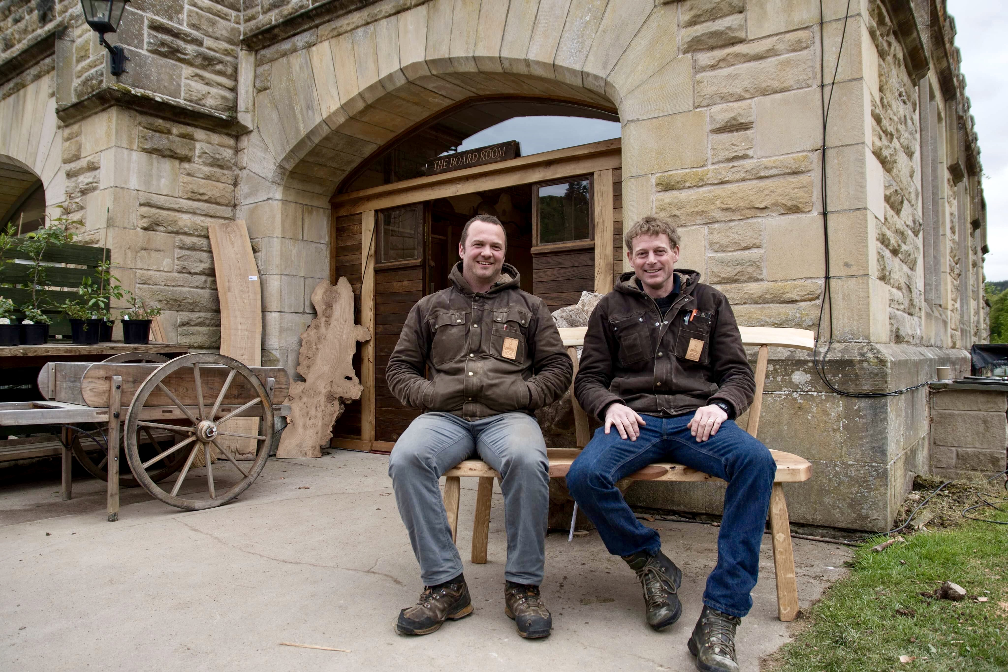 Mark and Alec outside The Boardroom at Logie Steading
