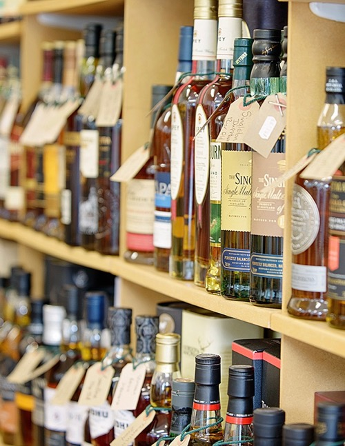 part of the whisky selection at Logie Whisky and Wine