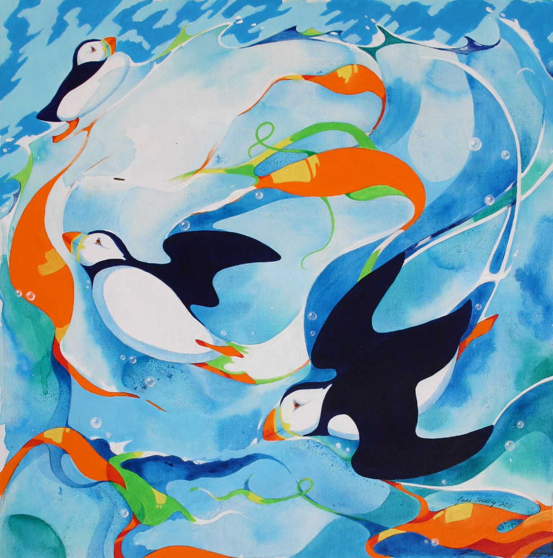 Puffins three by Jane Milloy
