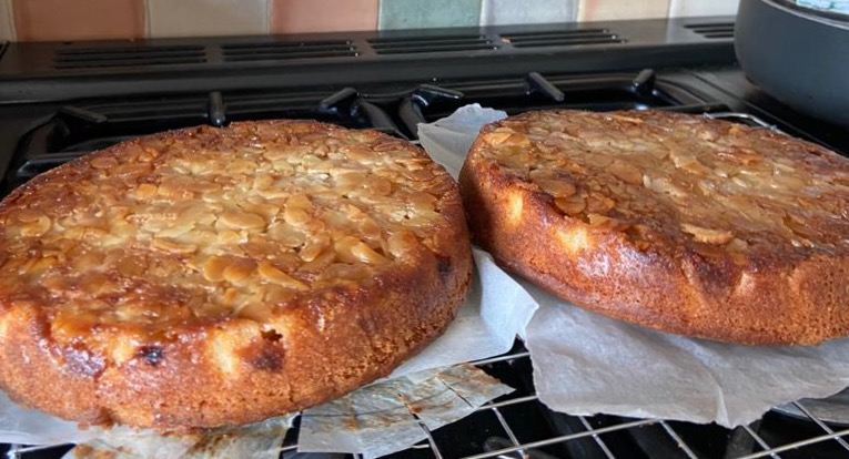 Apricot, plum and almond cake during prep by Lucy