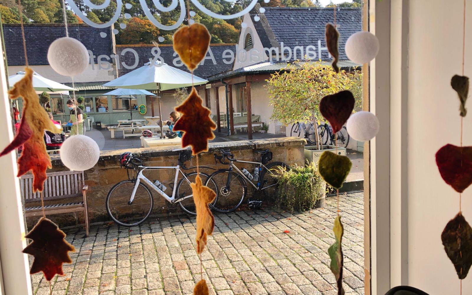 Autumn leaf felt hanging decorations at Hellygog