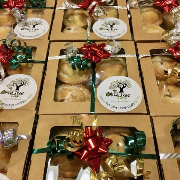 mince pies boxes from olive tree cafe